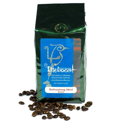Lifeboost Coffee Fair Trade Organic Java Mint Coffee Whole Bean Medium Roast Coffee 12oz