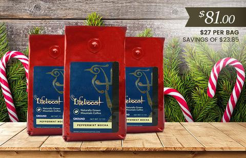Lifeboost Coffee Organic Pepper Mint Mocha Medium Roast Coffee 36oz Bulk Coffee