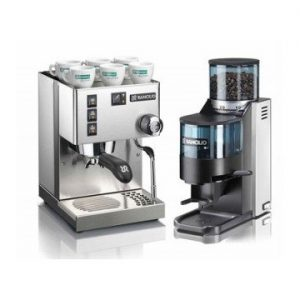 Rancilio Silvia M Espresso Machine and Rocky Coffee Grinder Package