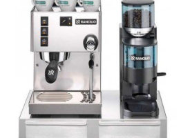 Rancilio Silvia M Espresso Machine and Rocky Coffee Grinder with Espresso Bar