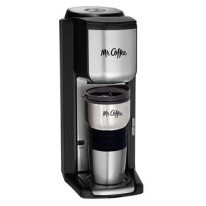 Mr Coffee Single Serve Coffeemaker with built-in Grinder and Travel Mug
