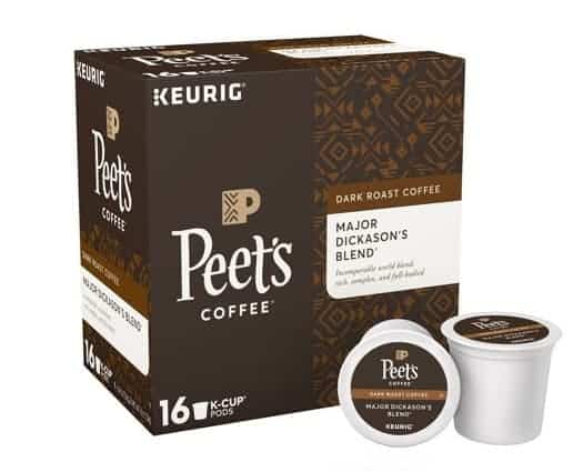 Peet's Coffee Major Dickason Dark Roast K Cups 16ct