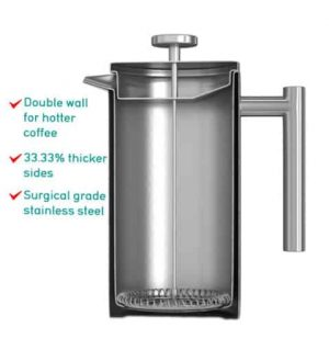Vacuum Sealed French Press Maker by Coffee Gator