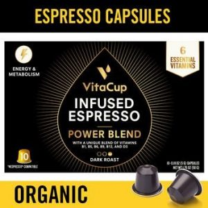 VitaCup Power Blend Dark Roast Espresso Capsules 10ct