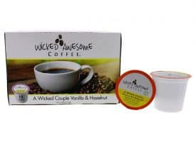 I0096733 Awesome Wicked Couple Vanilla & Hazelnut Flavored Coffee, Single Serve Cups - 12 Cups