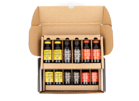 Build a Box / 12 2oz Bottles / Makes 12-16 Cups - Everything Except No Caf (4 Low Caf / 4 Reg Caf / 4 Extra Caf)