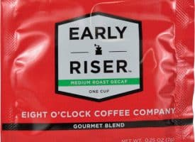 """Eight O'Clock Coffee, Gourmet Blend, Decaf, 4""""Wx4""""Lx1/100""""H, 200/CT,"""